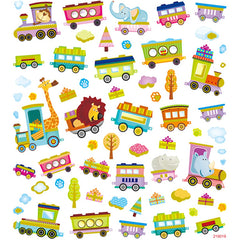 Stickers, sheet 15x16.5cm, 64 pc, train with animals, 1 sheet