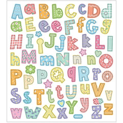 Stickers, sheet 15x16.5cm, 64 pc, alphabet, 1 sheet