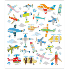 Stickers, sheet 15x16.5cm, 42 pc, air planes and helicopters, 1 sheet