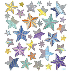 Stickers, sheet 15x16.5cm, 33 pc, stars, 1 sheet