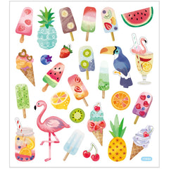 Stickers, sheet 15x16.5cm, 27 pc, icecream and pelicans, 1 sheet