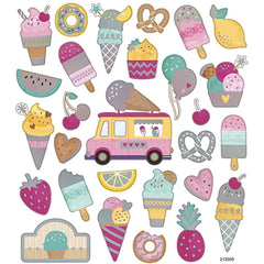 Stickers, sheet 15x16.5cm, 28 pc, icecream, 1 sheet