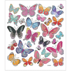Stickers, sheet 15x16.5cm, 27 pc, butterflies, 1 sheet