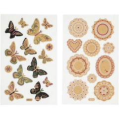 Stickers, sheet 10x16cm, butterflies, 4 sheets