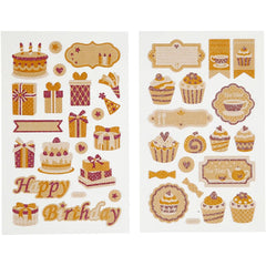 Stickers, sheet 10x16cm, birthday and cup cakes, 4 sheets
