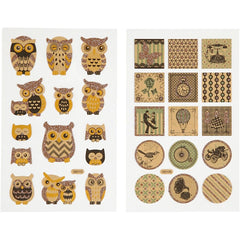 Stickers, sheet 10x16cm, owls and nostalgic, 4 sheets