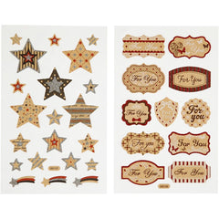 "Stickers, sheet 10x16cm, stars and ""For You""-tags, 4 sheets"