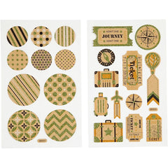 Stickers, sheet 10x16cm, bag tags and circles, 4 sheets