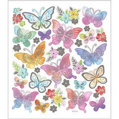 Stickers, sheet 15x16.5cm, approx. 32 pc, butterflies, 1 sheet