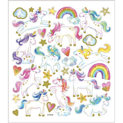 Stickers, sheet 15x16.5cm, approx. 31 pc, unicorn, 1 sheet