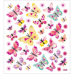 Stickers, sheet 15x16.5cm, approx. 40 pc, butterflies, 1 sheet
