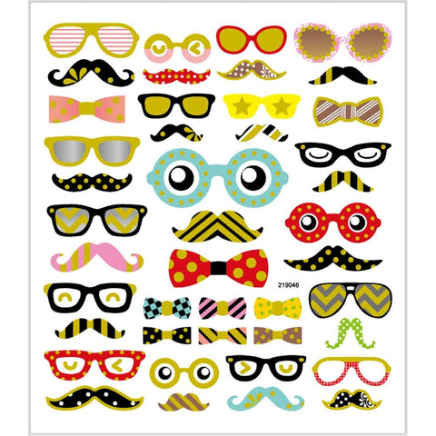 Stickers, sheet 15x16.5cm, approx. 43 pc, glasses and beard, 1 sheet