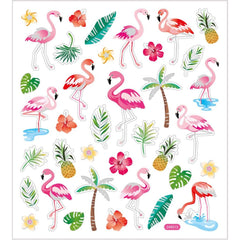 Stickers, sheet 15x16.5cm, approx. 37 pc, flamingo, 1 sheet