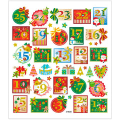 Stickers, sheet 15x16.5cm, approx. 43 pc, advent numbers, 1 sheet
