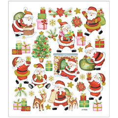 Stickers, sheet 15x16.5cm, approx. 32 pc, happy santa, 1 sheet