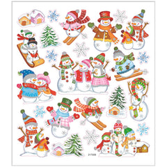 Stickers, sheet 15x16.5cm, approx. 24 pc, skiing snowmen, 1 sheet