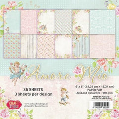 "Amore Mio Paper Pad 190gsm 36 Sheets 6 x 6"" Single Side 12 Designs by Craft&You"