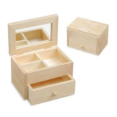 Wooden Jewellery Box With Mirror And 3 Compartment Folds Flat - Hobby & Crafts