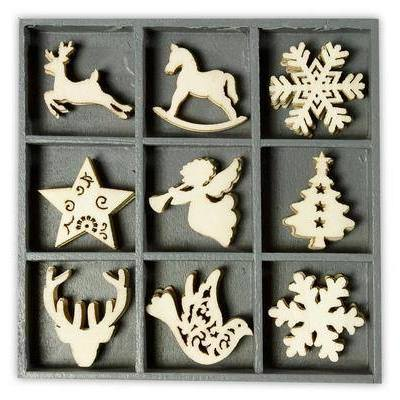 Wooden Decorations Embellishments Toppers - Christmas Assortment 3 - Hobby & Crafts