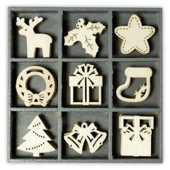Wooden Decorations Embellishments Toppers - Christmas Assortment 2 - Hobby & Crafts