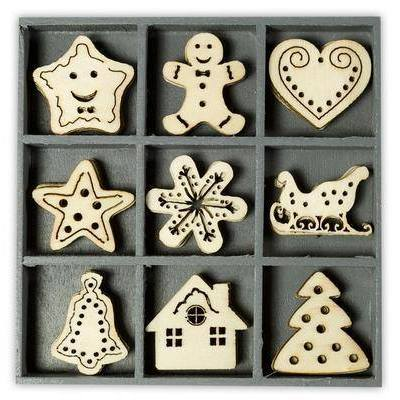 Wooden Decorations Embellishments Toppers - Sweet Christmas - Hobby & Crafts