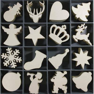 Wooden Christmas Embellishments Scrapbooking Toppers x 16 - Hobby & Crafts