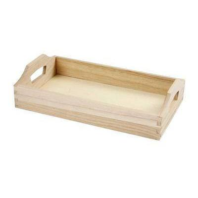 30cm Wooden Serving Small Tray With Handles Decorate Or Paint - Hobby & Crafts