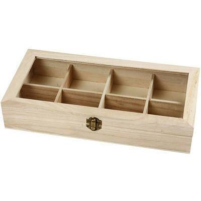 Wooden Glass Lid Box Storage 8 Compartments Decorate or Paint - Hobby & Crafts