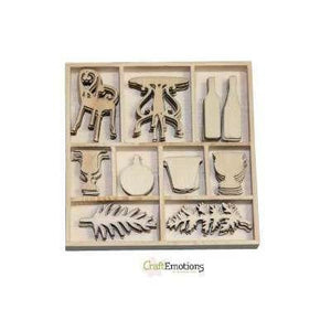 Wooden Ornament Decorations Embellishments Toppers 10 x Assorted Design Romantic Provence Terrace - Hobby & Crafts