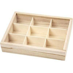 Plain Wooden Sliding Lid Display Box Storage 9 Compartments Decorate Craft - Hobby & Crafts