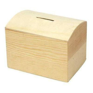 Natural Wooden Pine Money Box 10 cm - Hobby & Crafts