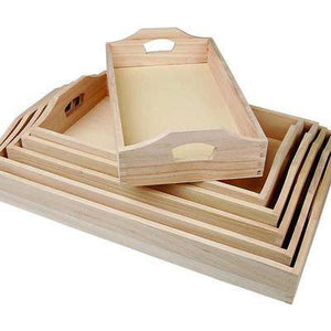 Set Of 6 x Wooden Serving Breakfast Tray With Handles Decorate Or Paint - Hobby & Crafts