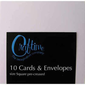 Craftime White 10 Pre-Creased Cards And Envelopes - Square - Hobby & Crafts
