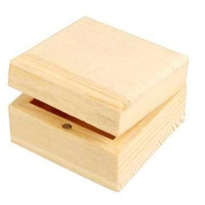 Natural Wooden Pine Jewellery Storage Box 6 cm - Hobby & Crafts