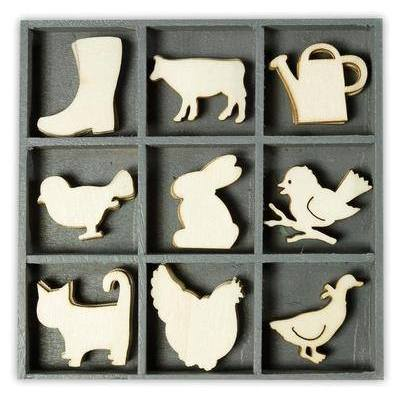 Wooden Decorations Embellishments Toppers - Farm Animals - Hobby & Crafts