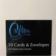 Craftime Cream 10 Pre-Creased Cards And Envelopes - Square - Hobby & Crafts
