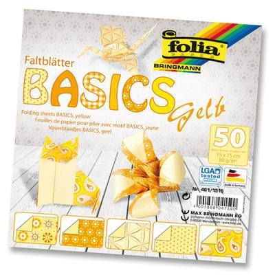 Origami Paper Assorted Double Sided 50 Sheets 15x15cm - Yellow - Hobby & Crafts