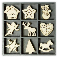 Wooden Decorations Embellishments Toppers - Christmas Assortment 4 - Hobby & Crafts