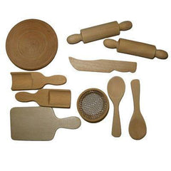 Wooden 10 Piece Mini Dolls House Miniature Cooking Baking Utensils To Decorate - Hobby & Crafts