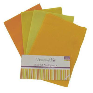 8 x A4 Dovecraft Polyester Craft Felt Sheets - Yellow - Hobby & Crafts
