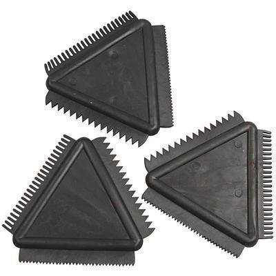 3 x Scrapper Set Rubber Texture Combs Paint/Clay Designs 3 Tooth Sizes 9cm Craft - Hobby & Crafts