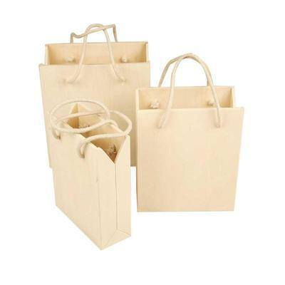 Set 3 Wooden Plywood Storage Gift Bag & Handles Decorate/Decoration Small Vases - Hobby & Crafts