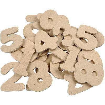 30 Wooden 4 cm Numbers Pack Craft Create Decorate Personalise - Hobby & Crafts