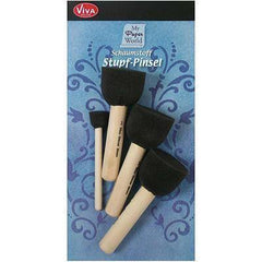 Pack of 4 Wooden/Foam Brush For Acrylic Stamping Stamp Blocks 15-35mm Craft Tool - Hobby & Crafts