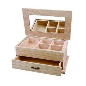 27 cm Wooden Jewellery Box Storage Craft Mirror Drawer Decorate or Paint - Hobby & Crafts