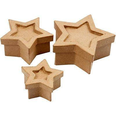 Set of 3 Star Shaped Boxes Craft Storage Brown Paper Mache Decorate Hand Made - Hobby & Crafts