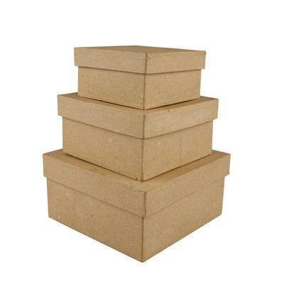 3 Square Shaped Boxes Craft Storage Brown Paper Mache Create Decorate Hand Made - Hobby & Crafts