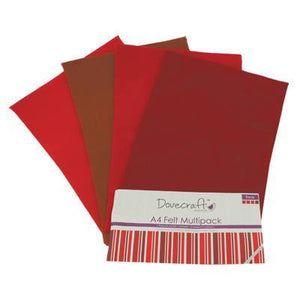 8 x A4 Dovecraft Polyester Craft Felt Sheets - Reds - Hobby & Crafts