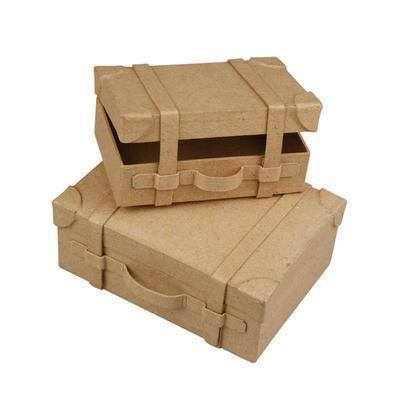 2 x Mini Suitcases Shape Boxes Paper Mache Craft Boys Storage - Hobby & Crafts