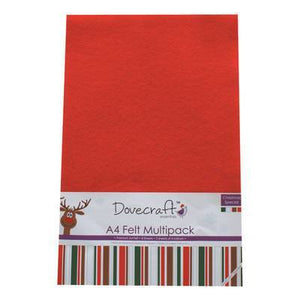 8 x A4 Dovecraft Polyester Craft Felt Sheets - Christmas Edition - Hobby & Crafts